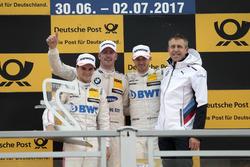 Podium: Race winner Maxime Martin, BMW Team RBM, BMW M4 DTM, second place Lucas Auer, Mercedes-AMG Team HWA, Mercedes-AMG C63 DTM, third Edoardo Mortara, Mercedes-AMG Team HWA, Mercedes-AMG C63 DTM, Bart Mampaey, Team principal BMW Team RBM