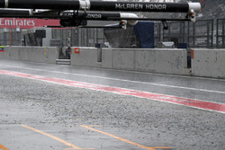Heavy rain and flooded pit lane
