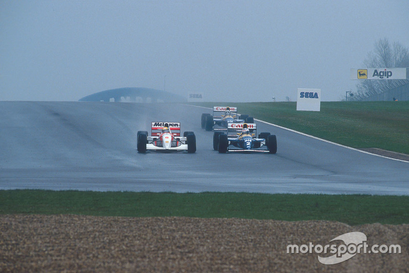 Ayrton Senna, McLaren MP4/8 Ford; Alain Prost, Williams FW15C Renault; Damon Hill, Williams FW15C Renault