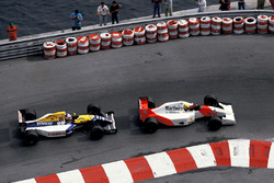 Ayrton Senna, McLaren MP4/7A, Nigel Mansell, Williams FW14B