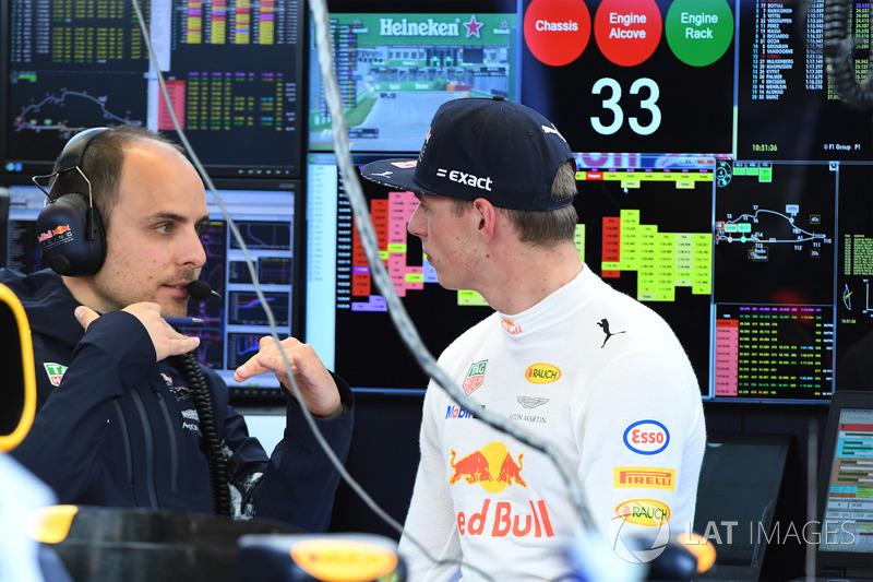 Max Verstappen, Red Bull Racing; Gianpiero Lambiase, Red Bull Racing, Renningenieur