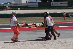 Chaz Davies, Ducati Team being taken away on a stretcher
