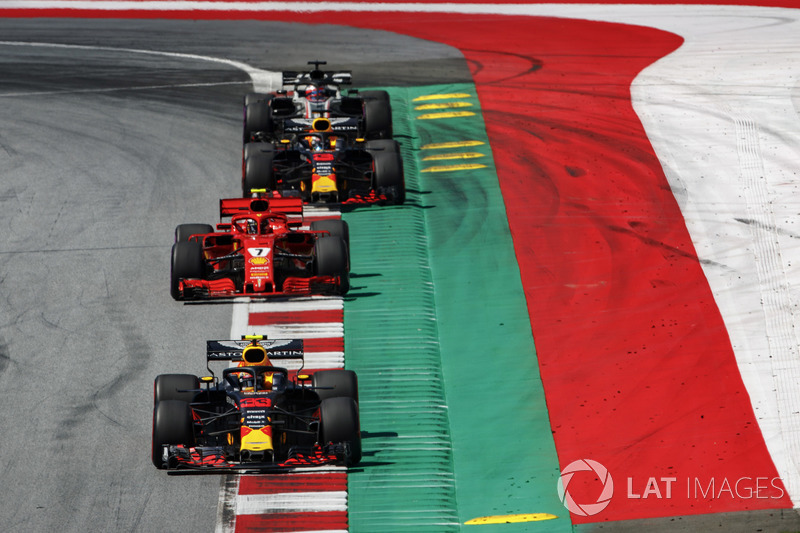 Max Verstappen, Red Bull Racing RB14, Kimi Raikkonen, Ferrari SF71H, Daniel Ricciardo, Red Bull Racing RB14, Romain Grosjean, Haas F1 Team VF-18