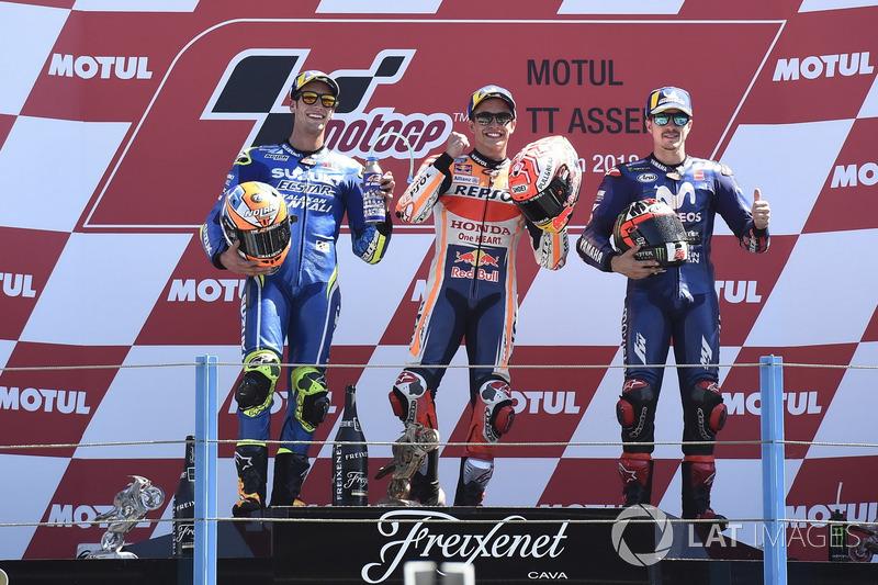 Podio: 1º Marc Márquez, 2º Alex Rins, 3º Maverick Viñales