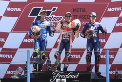 Podium: second place Alex Rins, Team Suzuki MotoGP, Race winner Marc Marquez, Repsol Honda Team, third place Maverick Viñales, Yamaha Factory Racing