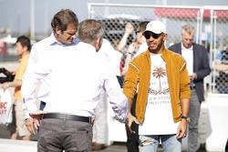 Lewis Hamilton, Mercedes AMG F1, opens the kart track