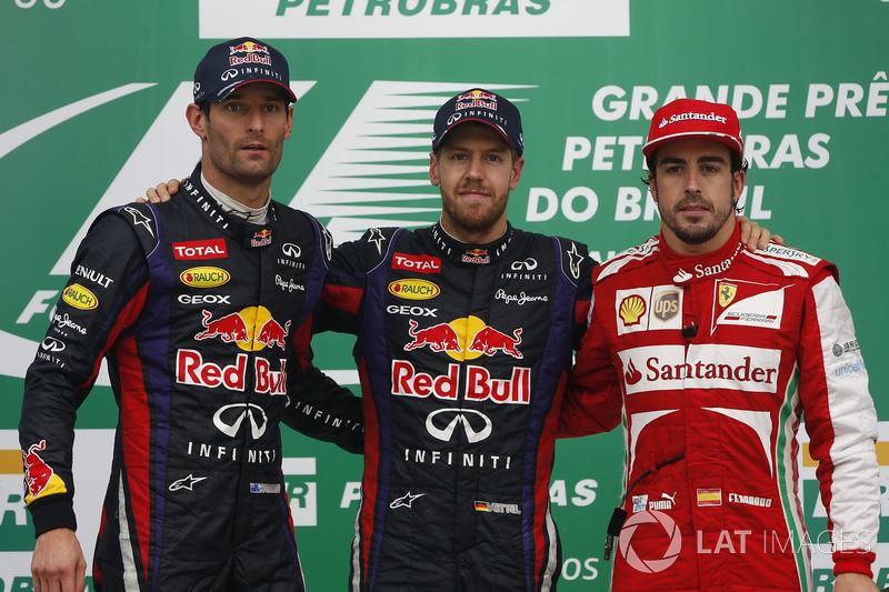 2013: 1. Sebastian Vettel, 2. Mark Webber, 3. Fernando Alonso