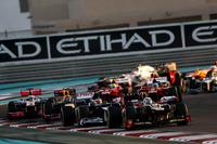 Kimi Raikkonen, Lotus E20 F1 Team, leads Pastor Maldonado, Williams FW34, Mark Webber, Red Bull Racing RB8, and Jenson Button, McLaren MP4-27