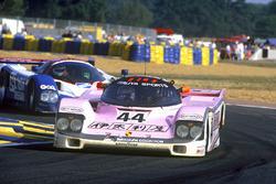 John Watson, Bruno Giacomelli, Allen Berg, Porsche 962C, leads Bob Earl, Michael Roe, Steve Millen, Nissan R90CK