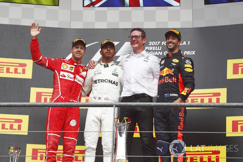 Podium: Race winner Lewis Hamilton, Mercedes AMG, second place Sebastian Vettel, Ferrari, third plac