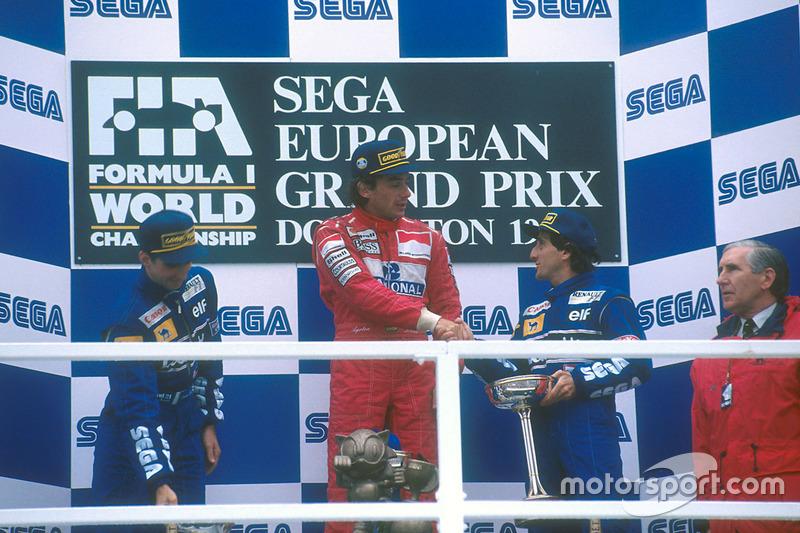 Podium: 1. Ayrton Senna, McLaren MP4/8 Ford; 2. Damon Hill, Williams FW15C Renault; 3. Alain Prost, Williams FW15C Renault