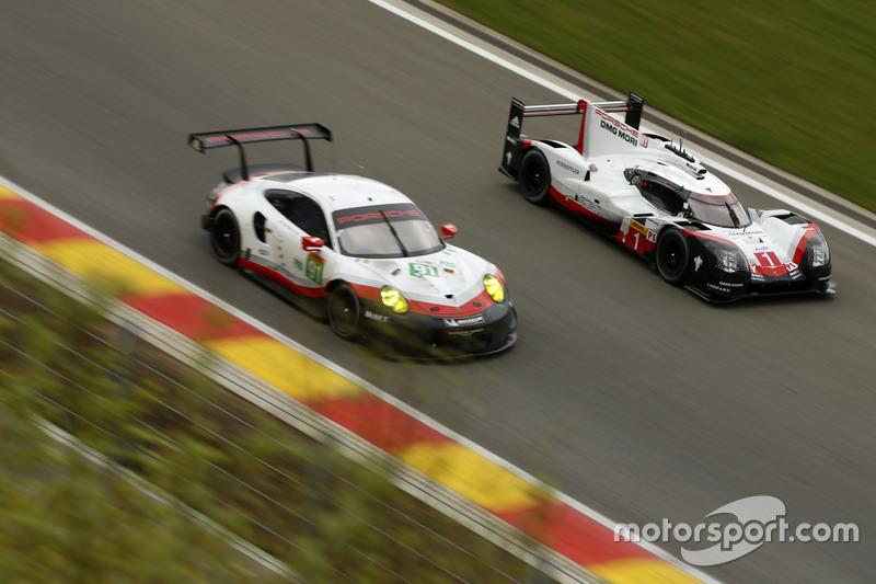 #1 Porsche Team Porsche 919 Hybrid: Neel Jani, Andre Lotterer, Nick Tandy, #91 Porsche Team Porsche 911 RSR: Richard Lietz, Frédéric Makowiecki