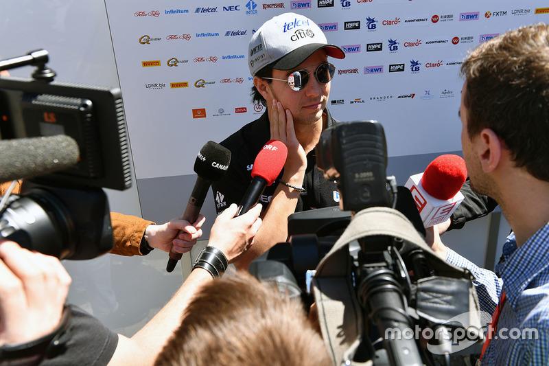 Sergio Perez, Sahara Force India F1 talks to the media