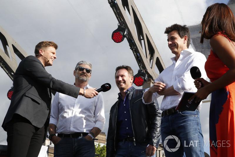 Jake Humphrey mit Maurizio Arrivabene, Ferrari, Christian Horner, Red Bull Racing, Toto Wolff, Mercedes