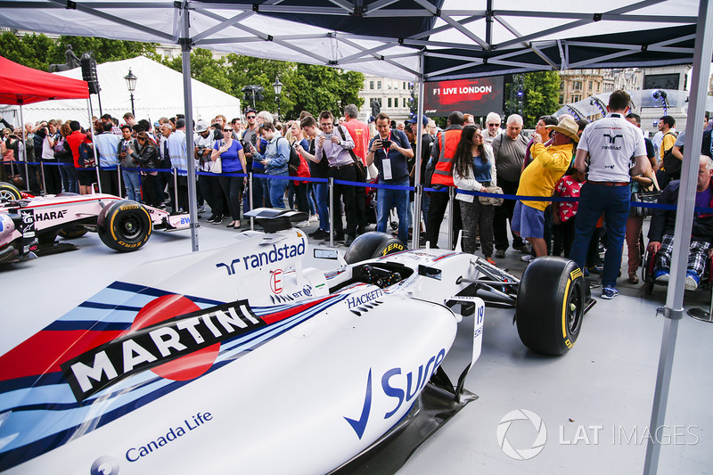 The Williams FW40 on display on the teams stand