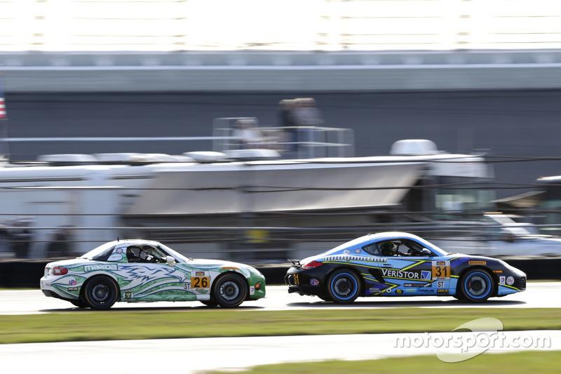 #26 Freedom Autosport Mazda MX-5: Andrew Carbonell, Liam Dwyer; #31 Bodymotion Racing Porsche Cayman: Drake Kemper, Devin Jones