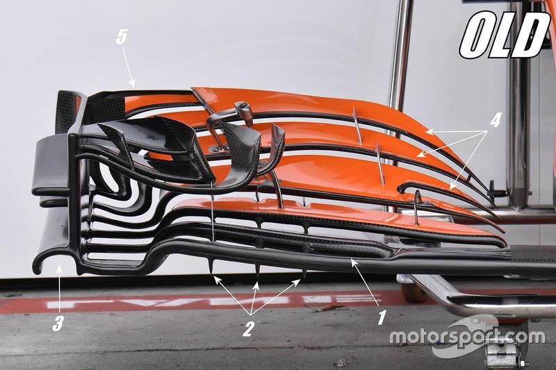 Détails de l'ancien aileron avant de la McLaren MCL32