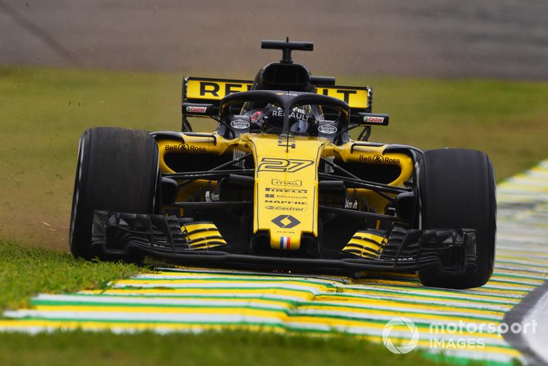 Nico Hulkenberg, Renault Sport F1 Team R.S. 18 running wide before his crash in FP2