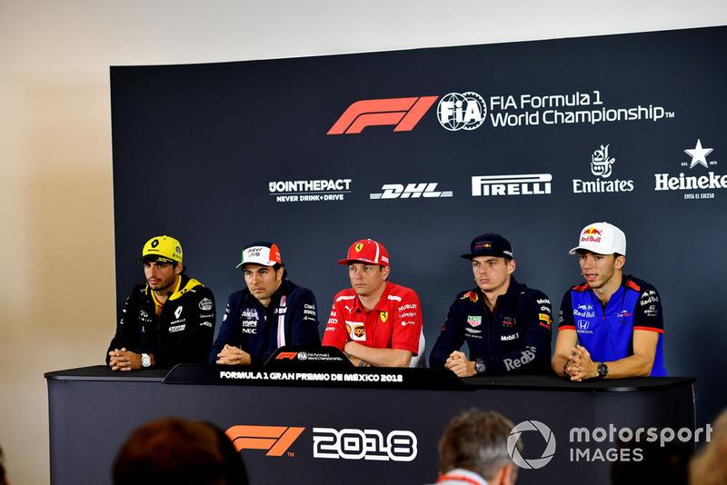 (L to R): Carlos Sainz Jr., Renault Sport F1 Team, Sergio Perez, Racing Point Force India F1 Team, Kimi Raikkonen, Ferrari, Max Verstappen, Red Bull Racing and Pierre Gasly, Scuderia Toro Rosso in Press Conference