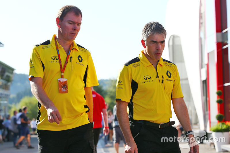 (L to R): Alan Permane, Renault Sport F1 Team Trackside Operations Director with Nick Chester, Renault Sport F1 Team Chassis Technical Director