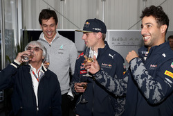 F1 supremo Bernie Ecclestone at his birthday celebrations with Max Verstappen, Red Bull Racing, Dani