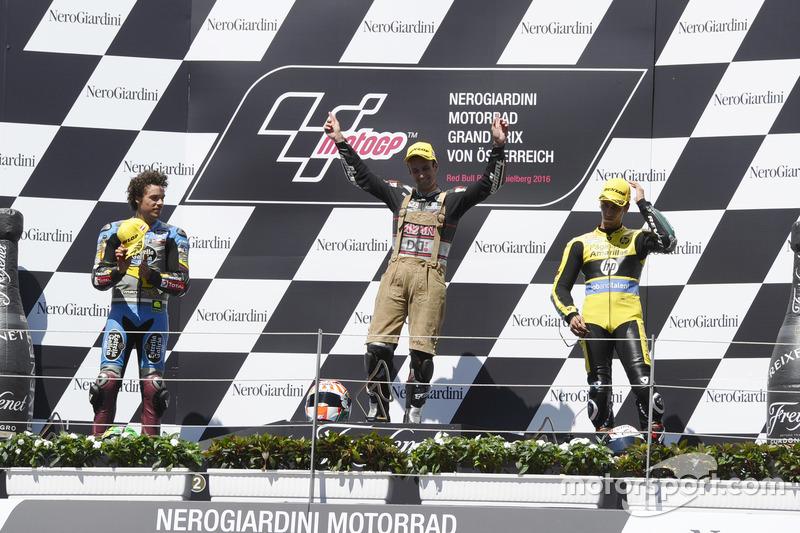 Podium: Race winner Johann Zarco, Ajo Motorsport, Kalex; second place Franco Morbidelli, EG 0,0 Marc VDS, Kalex; third place Alex Rins, Paginas Amarillas HP 40, Kalex