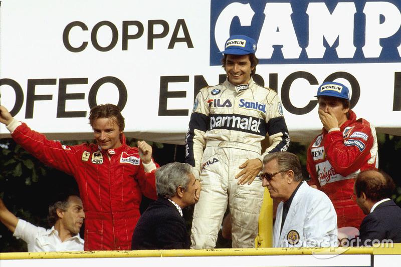 Podium : le vainqueur Nelson Piquet, Brabham BMW, le second René Arnoux, Ferrari, le troisième Eddie Cheever, Renault