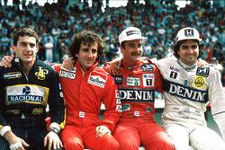 المنافسون على لقب بطولة 1986: آيرتون سينا، ألان بروست، نايجل مانسل، نيلسون بيكيه