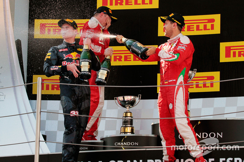 (L to R): race winner Max Verstappen, Red Bull Racing celebrates with the champagne with Sebastian V