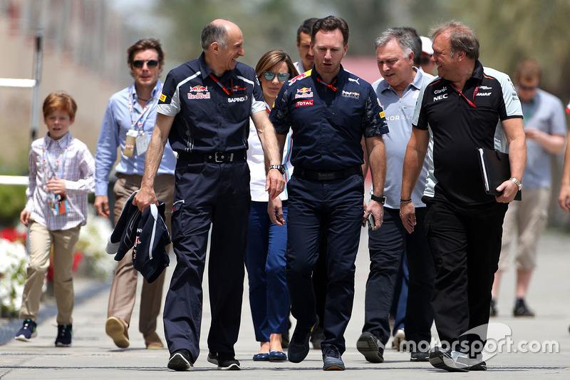Franz Tost, Scuderia Toro Rosso Team Principal, Christian Horner, Red Bull Racing Team Principal and Robert Fernley, Sahara Force India F1 Team Deputy Team Principal