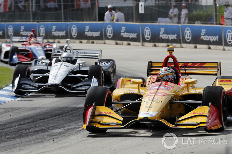 Ryan Hunter-Reay, Andretti Autosport Honda, Simon Pagenaud, Team Penske Chevrolet