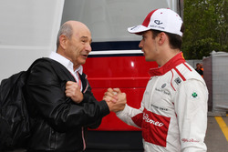 Peter Sauber congratulates Charles Leclerc, Sauber, on 10th place finish