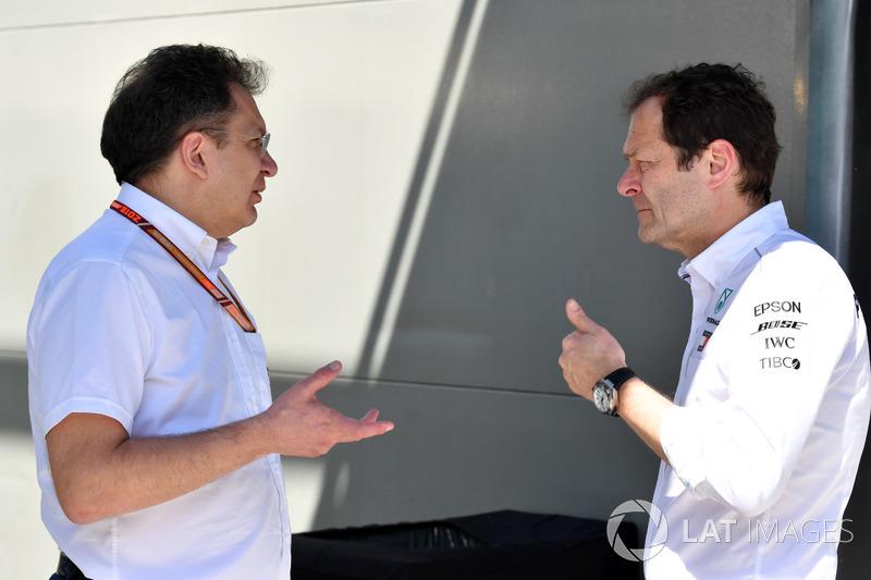 Nicholas Tombazis, Responsabile tecnico delle monoposto FIA e Aldo Costa, Mercedes AMG F1