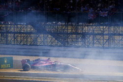 Sergio Perez, Force India VJM11, crashes into a advertising board at the start