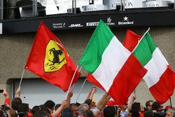 Ferrari and Itallian podium flags