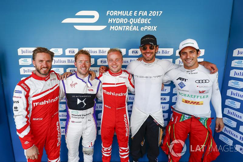 Nick Heidfeld, Mahindra Racing, Sam Bird, DS Virgin Racing, Felix Rosenqvist, Mahindra Racing, Jean-Eric Vergne, Techeetah, y Lucas di Grassi, ABT Schaeffler Audi Sport,