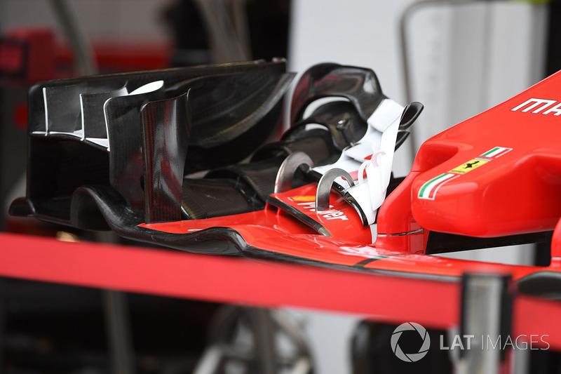 Detalle del alerón delantero del Ferrari SF70-H