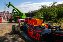 The car of race retiree Max Verstappen, Red Bull Racing RB13 is recovered
