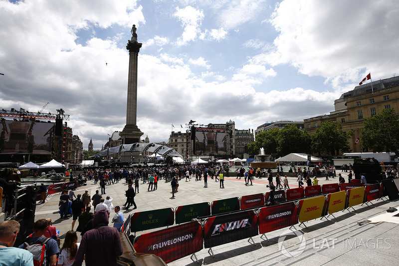 Fans gather for the entertainment in Trafalgar Square