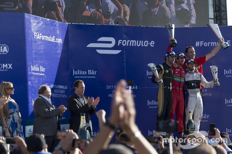 Podio: Lucas di Grassi, ABT Schaeffler Audi Sport, Jean-Eric Vergne, Techeetah. e Sam Bird, DS Virgin Racing
