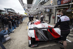 The Toyota Gazoo Racing team practice pitstops in front of the fans