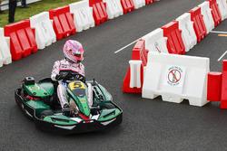 Esteban Ocon, Force India, races a kart