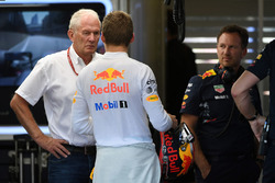 Dr Helmut Marko, Red Bull Motorsport Consultant, Max Verstappen, Red Bull Racing,Christian Horner, Red Bull Racing Team Principal