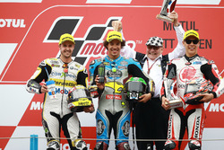 Podium: second place Thomas Luthi, CarXpert Interwetten, Race winner Franco Morbidelli, Marc VDS, third place Takaaki Nakagami, Idemitsu Honda Team Asia