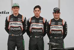 Sergio Perez, Sahara Force India F1, Alfonso Celis Jr., Sahara Force India F1, y Nico Hulkenberg, Sahara Force India F1