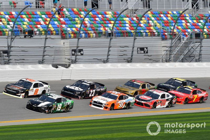 Brandon Jones, Joe Gibbs Racing, Toyota Supra Juniper and Chase Elliott, JR Motorsports, Chevrolet Camaro Aftershokz