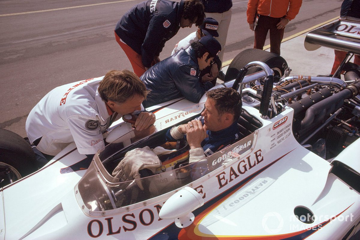 Bobby Unser and Gurney were often the pacesetters in Indy car racing in the first half of the 1970s.
