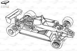 Williams FW08 1982, vista dettagliata del telaio
