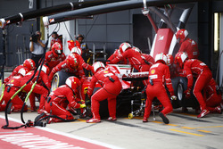 Sebastian Vettel, Ferrari SF70H, makes his first pit stop