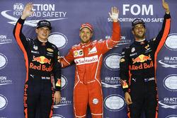 Polesitter Sebastian Vettel, Ferrari, second place Max Verstappen, Red Bull Racing, third place Daniel Ricciardo, Red Bull Racing